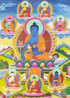 Thangka painting of medicine Buddha Tibetan Buddhism, Buddhist Art, Buddhist Wheel Of Life, Mahayana Buddhism, Thangka Painting, Green Tara, Deities, Medicine, Spirituality