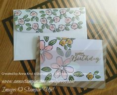 Birthday card and matching envelope I've made for my mum's 63rd birthday using Stampin' Up! Garden in Bloom stamp set. Created by Anna Krol, Stampin' Up! UK Independent Demonstrator