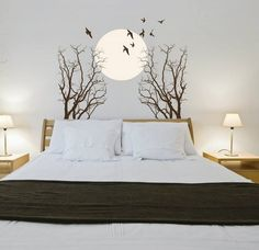Exotic Bedrooms, Bedroom Decor Pictures, Wall Painting Decor, Diy Wall Decor, Ikea Kitchen Design, Bedroom Wall Designs, Cute Home Decor, Living Room Inspiration, Home Decor Furniture