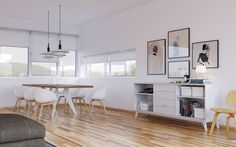 scandinavian interior design open space floor plan white dining chairs