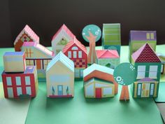 14 different free house printable art toys to create your very own neighborhood playset for kids. via