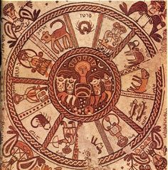 """Mosaic pavement of a 6th century synagogue at Beth Alpha, Jezreel Valley, northern Israel. It was discovered in 1928. Signs of the zodiac surround the central chariot of the Sun (a Greek motif), while the corners depict the 4 """"turning points"""" (""""tekufot"""") of the year, solstices and equinoxes, each named for the month in which it occurs--tequfah of Tishrei, (tequfah of Tevet), tequfah of Ni(san), tequfah of Tamuz."""