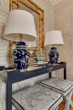 Feather Bloom Wallpaper with Stools in Clarence House Tibet