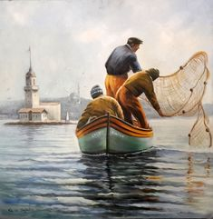 ARICAM - YAĞLIBOYA TABLO-İSTANBUL Boat Painting, Artist Painting, Artist Art, Watercolor Paintings, Landscape Art Quilts, Landscape Paintings, Istanbul City, Bible Pictures, Old Boats