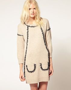 See by Chloe Knitted Dress with Boucle Trim