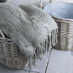 Zinc lined willow baskets and knitted throw from Rowan & Wren via The Paper Mulberry Paper Mulberry, Shabby, Plaid, Vintage Stil, Knitted Blankets, Knitting Projects, Warm And Cozy, Cozy Winter, Pillows