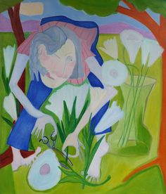 "A Prolific Specimen Collector, Especially If It Were Not Her Own Garden  oil/canvas, 54x46""  #art, #artists, #flowers, #painting, #botanicaltheft, #gardening"
