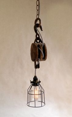 Vintage Industrial Pulley Light ♥