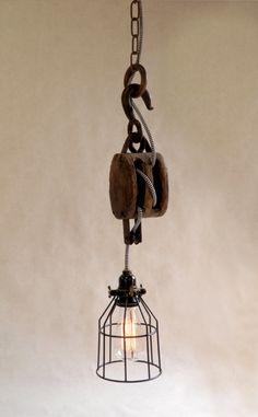 Vintage luminaire-poulie