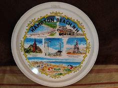 Vintage Hampton Beach New Hampshire (NH) Tray Souvenir - Turquoise and White by LazyHoundVintage on Etsy