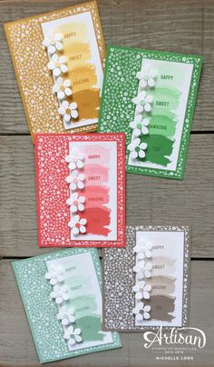 set of handmade cards from Stampin365 ... each monochromatic in a different color ... ombre column of stamped watercolor wash ... multiple stampings without reinking ... patterned paper cand punched flowers ... great design ... Stampin' Up!