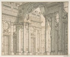 Design of a Perspective for a Stage Set with Courtyard and Triumphal Arch.
