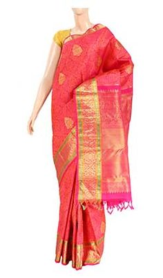 Pure-kanchipuram-handloom-silk saree-with-half-fine-zari/