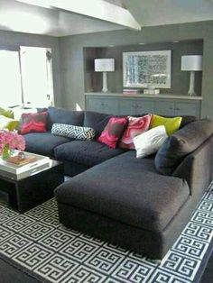 modern gray living room design with charcoal gray sectional sofa and Jonathan Adler black Greek key rug by Brenda Olmsted. Love the rug and grey sectional for viewing area Room Rugs, Rugs In Living Room, Home And Living, Living Room Decor, Cozy Living, Small Living, Modern Living, Area Rugs, Bedroom Decor