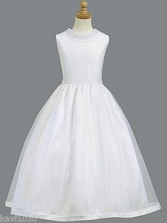 Girls First Communion Satin Dress w/ Pearl Accents & Organza Skirt 7 8 10 12 14