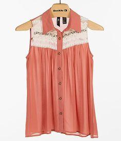 BKE Boutique Pieced Lace Shirt
