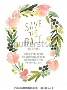 Save The Date Calligraphy Invitation With Beautiful Floral Frame. Vector Watercolor Floral Wedding Invitation.