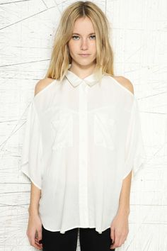 Silence + Noise Drop Armhole Button Blouse at Urban Outfitters