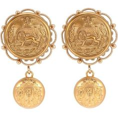 Dolce & Gabbana Clip-on Earrings (2.100 RON) ❤ liked on Polyvore featuring jewelry, earrings, gold, dolce gabbana jewelry, gold clip earrings, earring jewelry, clip back earrings and golden jewelry