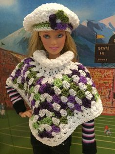 Crochet Barbie doll Multi Purples with greens and by MichelleB1975
