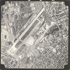 """Vista Aerofotogramétrica del area del antiguo aeropuerto de Grano de Oro. Puede apreciarse tambien el Estadium Jose """"Pachencho"""" Romero, los nucleos Salud y Técnico de LUZ, el Cuartel Libertador y Hospital Universitario de Maracaibo. Año 1971"""