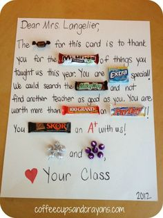 candy gift sayings for teachers | To go along with the school supply theme we made these super cute Post ...