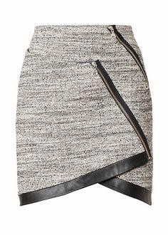 Grauer Bouclérock mit Leder- und Zipperdetails von Sand Copenhagen,
