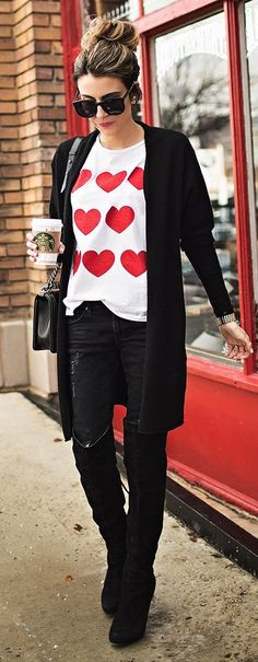 Heart Print Tee Shirt with Over the Knee Boots | C...