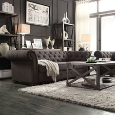 Tribecca Home Knightsbridge Dark Grey Tufted Scroll Arm Chesterfield Sofa | Overstock™ Shopping - Great Deals on Tribecca Home Sofas & Loveseats