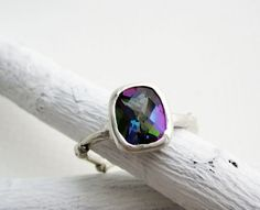 Mystic Topaz Silver Twig Ring Rectangular 9 x by EveryBearJewel, $169.00