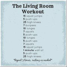 The Living Room Workout: an indoor workout perfect for busy moms! No equipment necessary, so you can do this any time and anywhere! www.TheSeasonedMom.com