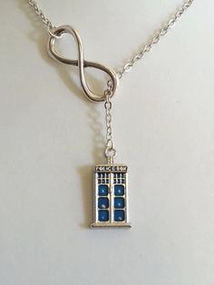 Doctor Who Necklace Blue Tardis Lariat Style by evilqueenjewelry