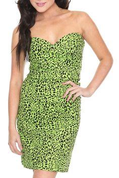 Too fast green leopard dress f/ hot topic
