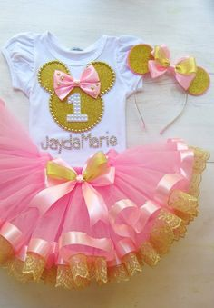 Pink - gold Minnie Mouse birthday tutu outfit for girls, Pink Gold baby girl birthday outfit Minnie tutu set, Minnie birthday party Minnie Mouse Birthday Outfit, Girl Birthday Themes, 1st Birthday Outfits, Birthday Tutu, Minnie Mouse Party, Girl First Birthday, Girl Themes, Mouse Outfit, Pink Minnie