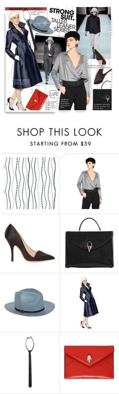 """Strong Suit"" by luisaviaroma ❤ liked on Polyvore featuring York Wallcoverings, Emporio Armani, Giorgio Armani, Yves Saint Laurent, Alexander McQueen, women's clothing, women, female, woman and misses"