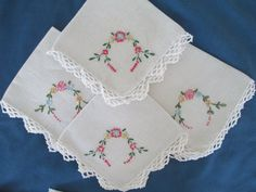 Vintage White Embroidered Floral Napkins Set Of Four by BitofHope, $18.00