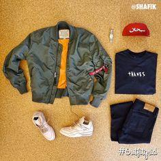 Today's top #outfitgrid is by @shafik. ▫️#AlphaIndustries #Jacket ▫️#Supreme #Hat ▫️#ThamesLondon #Tee ▫️#Diamond #Denim ▫️#HenderScheme #MIP10