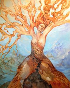 World axis by Marcia Snedecor. She is a world tree or axis mundi, connecting the sky and earth so that blessings may pass between.