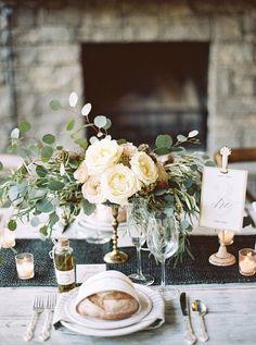 Elegant wedding centerpiece idea - cream + blush florals with greenery {Firefly Events}