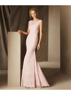 Long Pink Lace Mermaid Off-the-Shoulder Prom Evening Dresses 2103013
