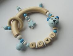 Baby Rattle/Teether personalized with name, wooden 3D teddy, metal bell, wooden star, light blue, white