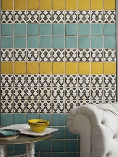 Style Forecast: Tile Trends for 2014 and Beyond/ Lovely Tabarka Deco Design, Tile Design, Design Color, Design Trends, Design Ideas, Design Design, Home Interior, Interior Design, Yellow Tile