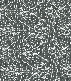 Quilter's Showcase Cotton Fabric- Damask Vine Gray & White