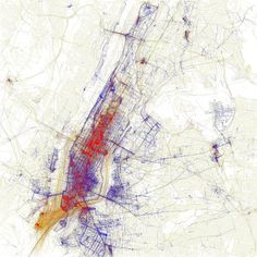 """Eric Fischer NYC color. """"Eric Fischer beautifully demonstrates a few ways in which technology can tell us, about us. Eric uses the geo-tags in Flickr photos to show patterns in the behavior of photographers""""."""