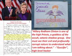 """Guccifer's statement about Hillary Clinton being a """"goddess"""" of an elite occult/Satanic order has sure gained credibility of late, given the """"Pizzagate"""" Podesta elite occult pedophile ring, and the """"Spirit Cooking"""" stuff. Hillary's odd purple/black concession speech outfit struck me as having occult meaning the first time I saw it, and I about fell out of my chair when I saw Fiona Barnett's drawing."""