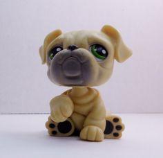 Littlest Pet Shop English Bulldog #107 yellow tan green eyes loose