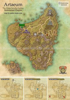Artaeum zone map for The Elder Scrolls Online: Summerset. Delves, World Bosses, Quest Hubs and Skyshards in Summerset.