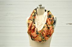 Pixelated Floral Cowl Scarf via RUBA RUBA Designs. Click on the image to see more!