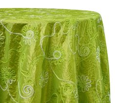 Tablecloths in Lime Eyelash Embroidery   Ideal for Weddings &