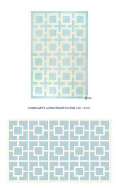 COPY CAT CHIC FIND: Jonathan Adler's Light Blue Richard Nixon Rug VS ShopTen 25 Labyrinth Blue/White